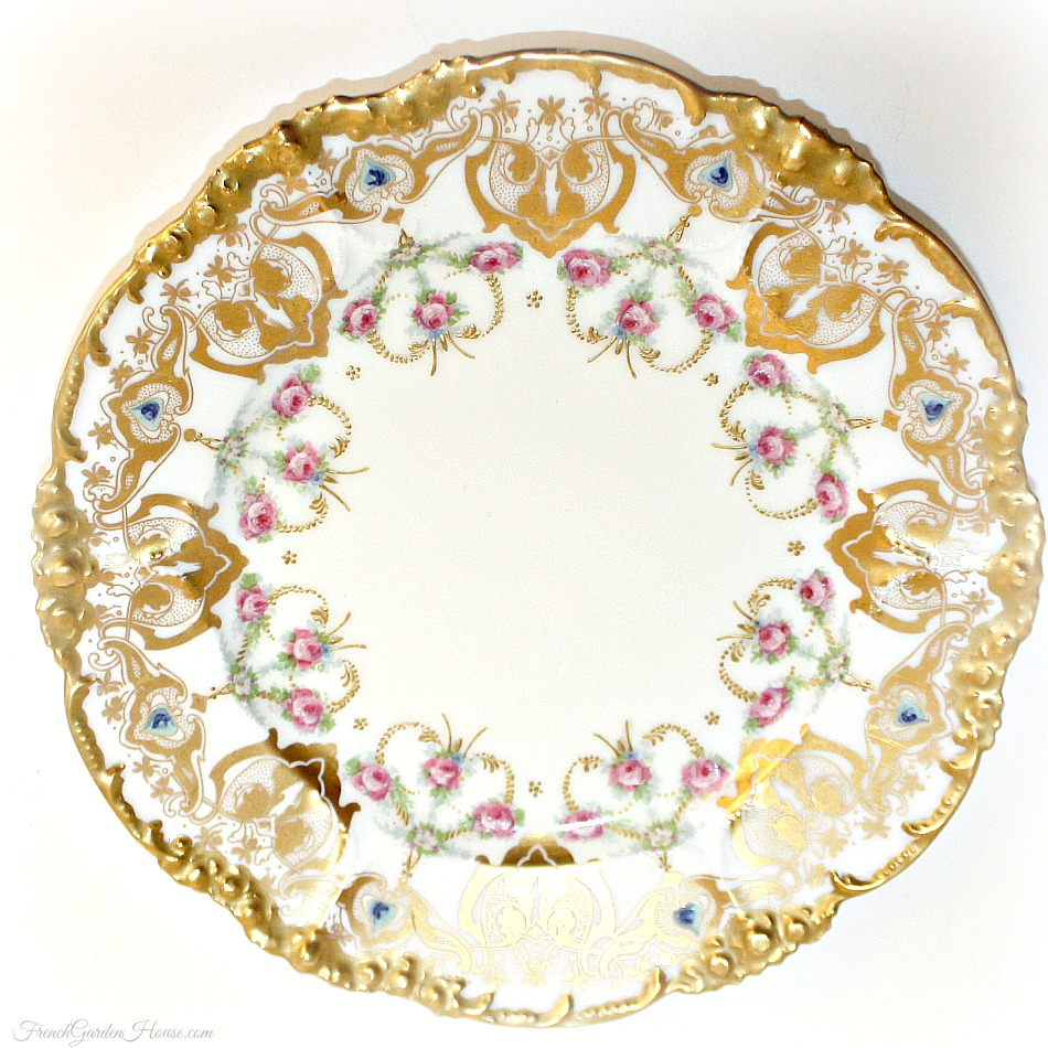 Antique French Limoges Hand Painted Gilt Pink Roses Pouyat