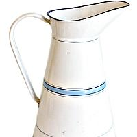 Antique French Blue and White Enamelware Body Pitcher