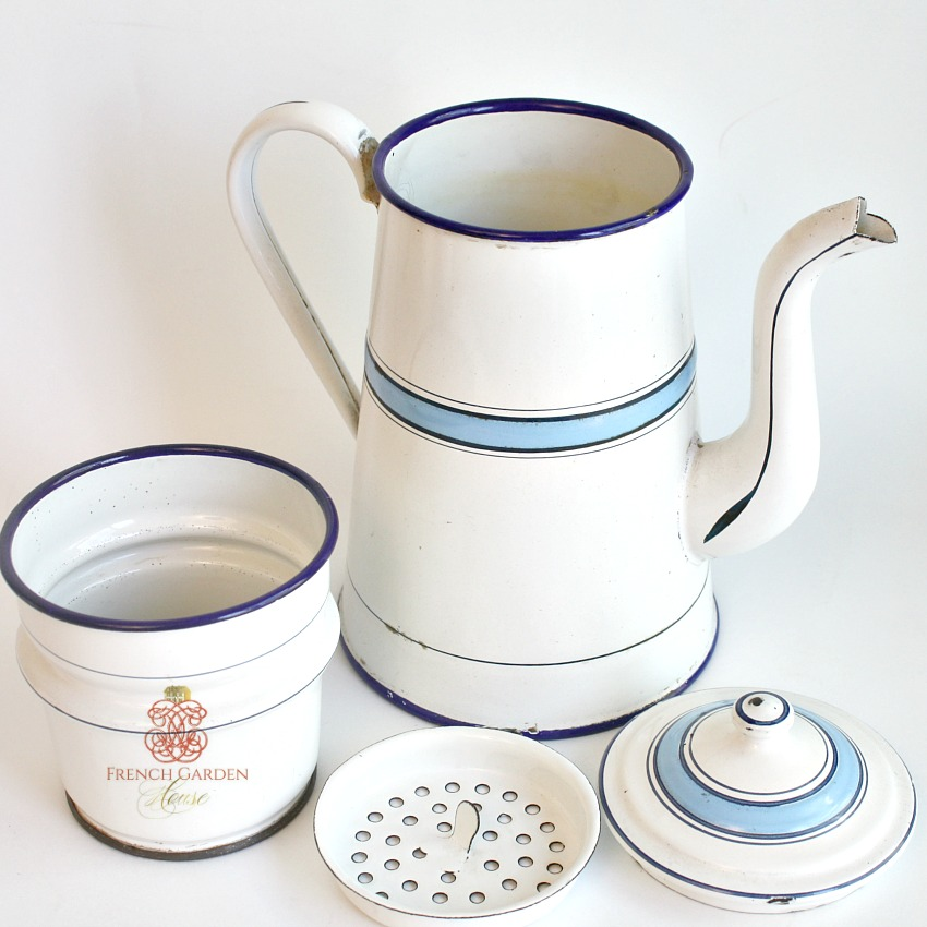 Antique French Blue and White Enamelware Coffee Biggin