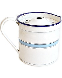 Antique French Blue and White Enamelware Milk Boiler