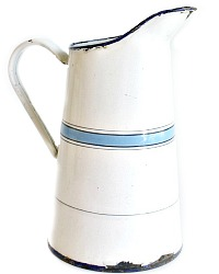 Antique French Blue and White Enamelware Milk Pitcher