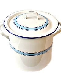 Antique French Blue and White Enamelware Large Stock Pot
