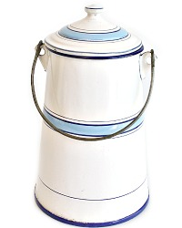 Antique French Blue and White Enamelware Milk Pail