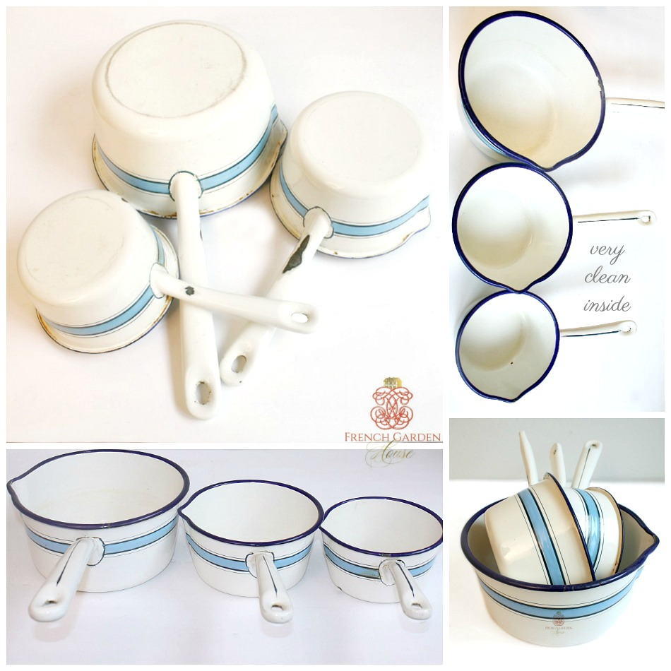 Antique French Blue and White Enamelware Saucepans Set of 3