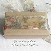 Jardin des Tuileries Sheer Floral Wired Ribbon