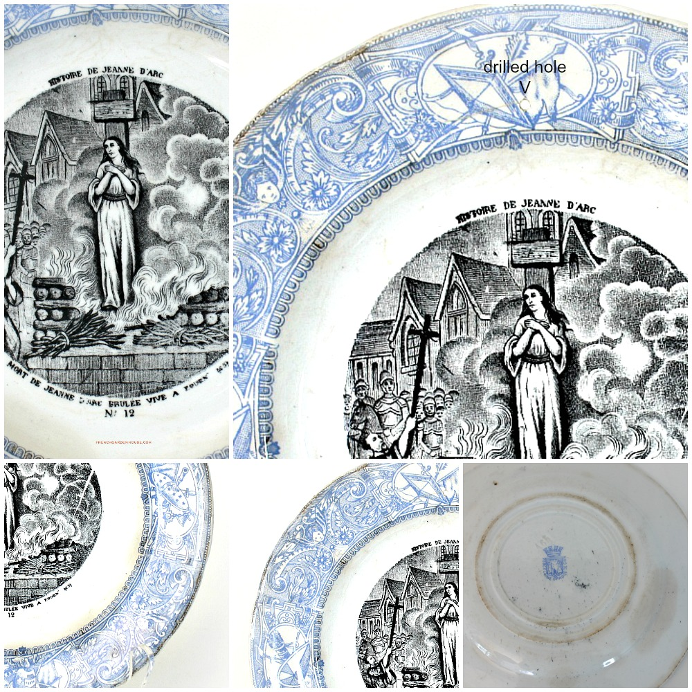 Antique 1888 French Gien Faience Story Plate Jean D'Arc Transferware #12