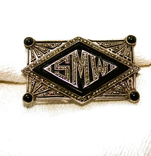Antique Sterling Onyx & Marcasite Brooch Monogram S M W