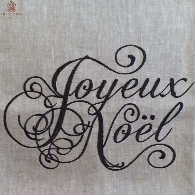 European Natural Linen Joyeux Noel Pillow Cover