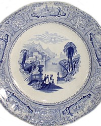 Antique J. Wedgwood Columbia Blue Transferware Plate