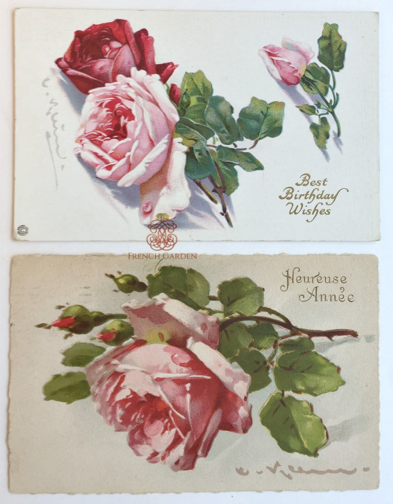 Antique Catherine Klein Pink Roses PostCard Set of 2