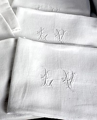 6 Antique French Linen Monogrammed Damask Napkins LV