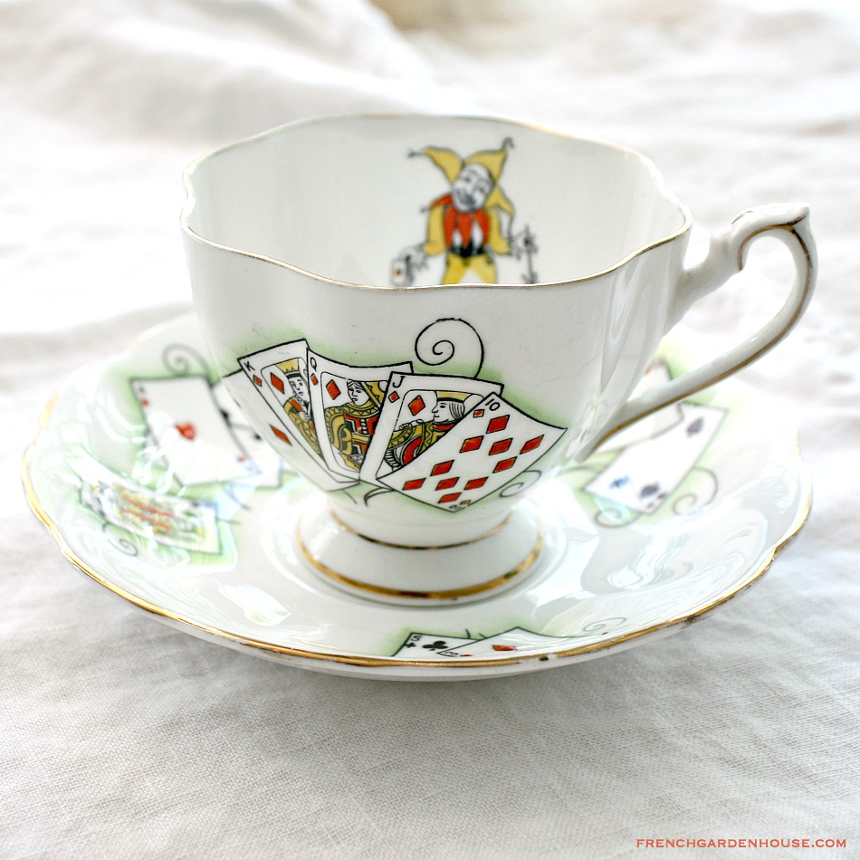 Vintage LADY LUCK Cards Tea Cup and Saucer