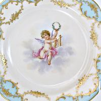 Exceptional Antique Lamm Dresden Gilded Cherub Cabinet Plate Blue