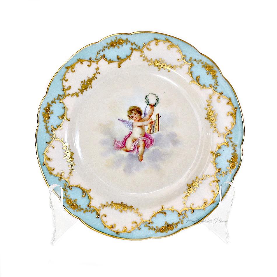 Exceptional Antique Lamm Dresden Gilded Cherub Cabinet Plate Blue