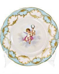 Exceptional Antique Lamm Dresden Gilded Cherub Cabinet Plate
