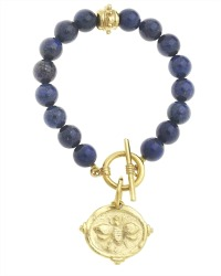 Lapis Blue and Gold Bee Bracelet