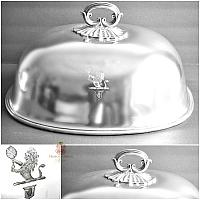 Large Antique Heraldic Silver Plate Meat or Food Dome
