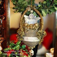 Large Glitter Joyeux Noel Angel Holiday Ornament Decoration