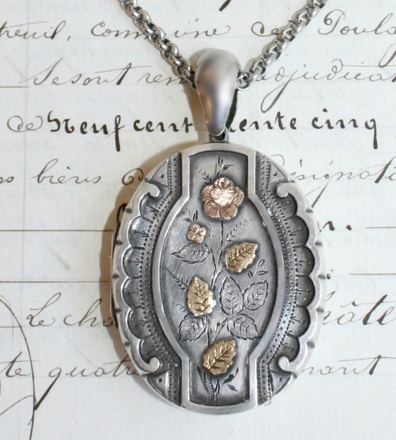 Antique Victorian Sterling Silver and Gold  Locket Rose