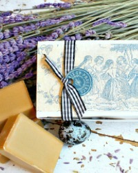 French Country Hand Wrapped Honey Lavender Guest Soap Gift Set