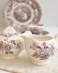 Vintage Royal Staffordshire French Basket with Flowers Lavender Creamer & Sugar