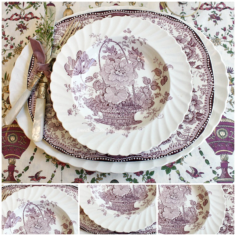 Vintage Royal Staffordshire French Basket with Flowers Lavender Plates Set of 6  sc 1 st  FrenchGardenHouse & Vintage Royal Staffordshire French Basket with Flowers Lavender ...