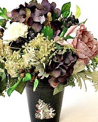 Lavender Purple Rose Hydrangea Floral Arrangement Cherub Pot