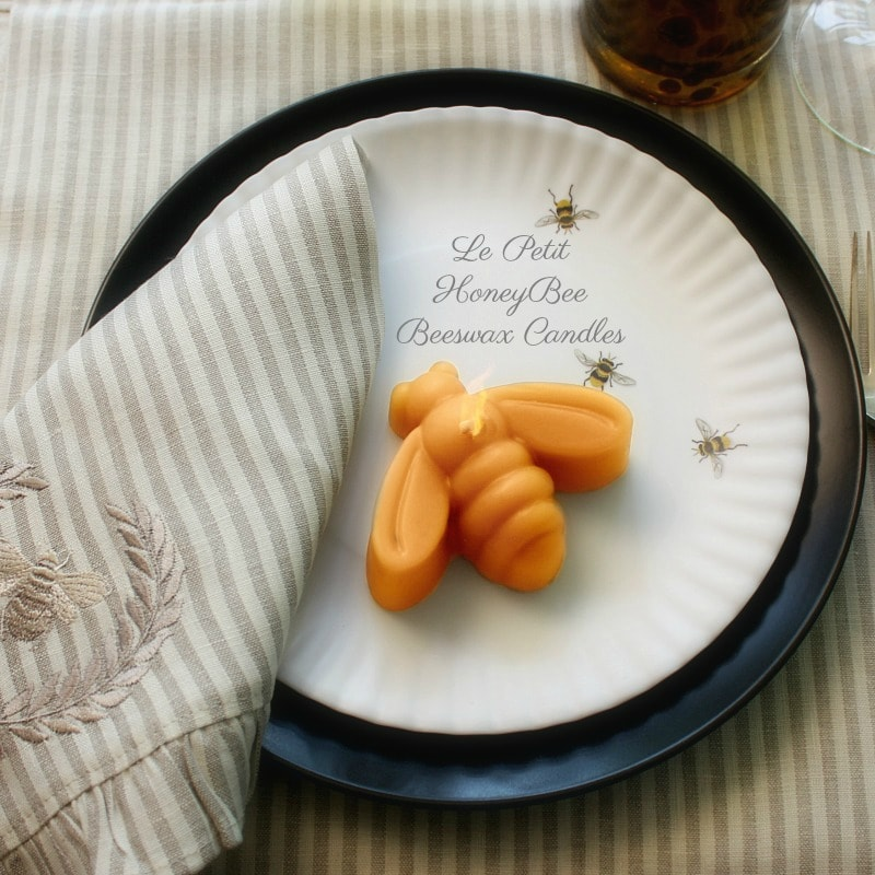 Le Petit Hive Honey Bee Beeswax Candles Set of 2