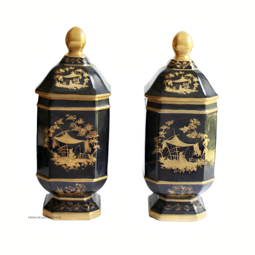 Pair French Atelier Le Tallec Hand Painted Chinois Porcelain Apothecary Jars