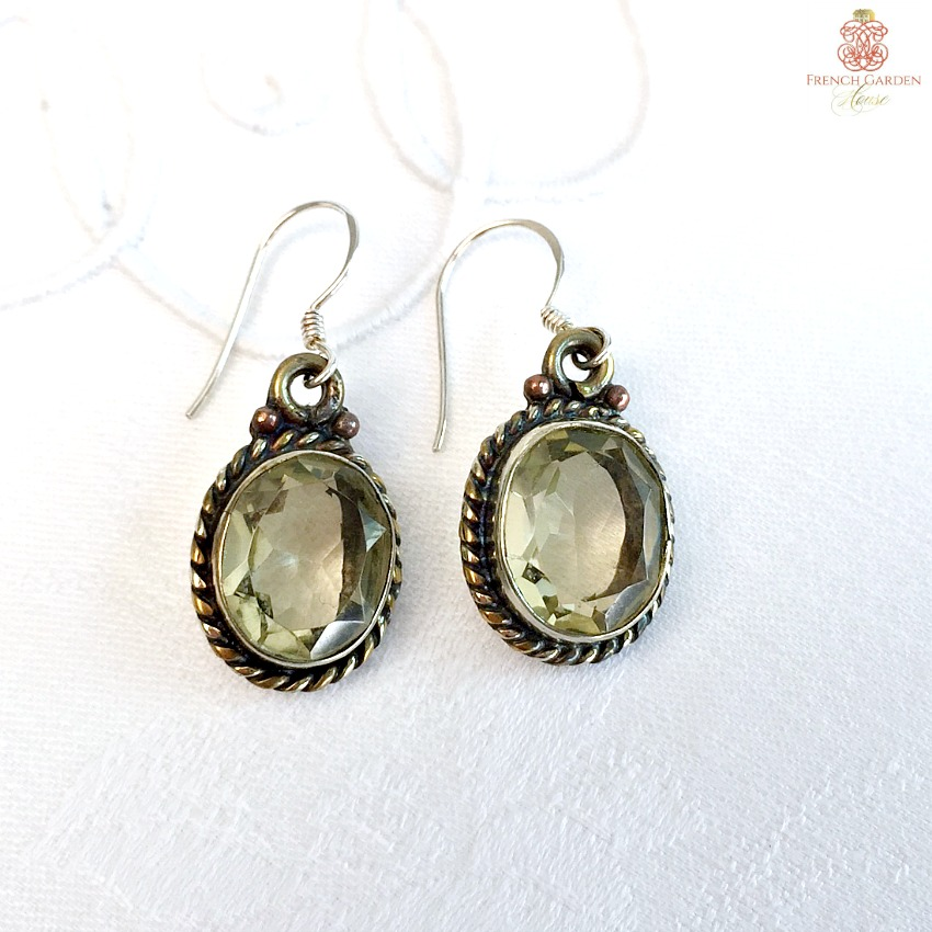 Citrine Lemon Grass and Sterling Silver Earrings