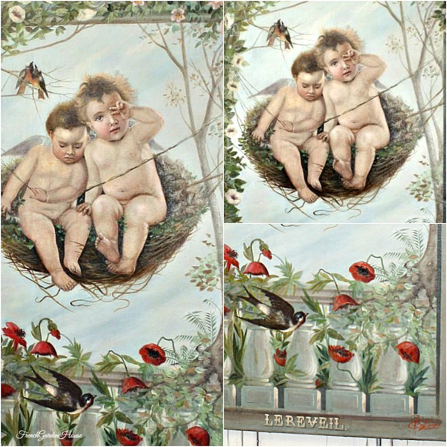 19th Century French Original Oil Painting Cupids