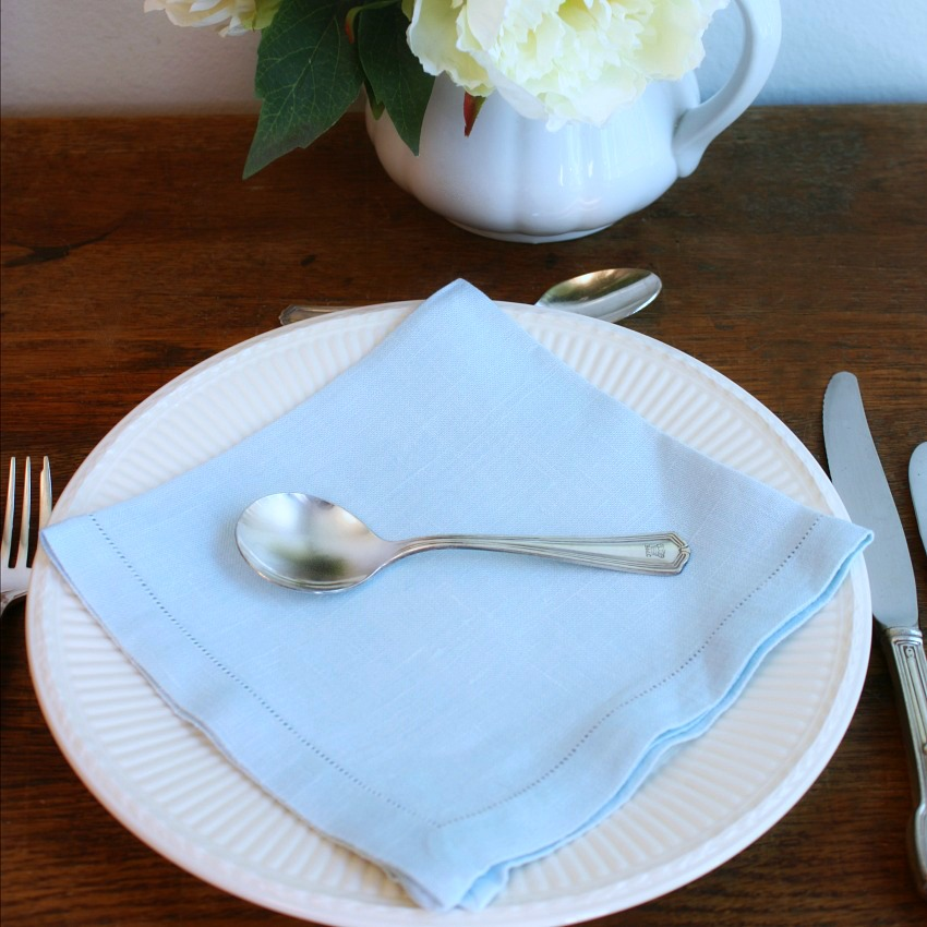 Light Blue Country Linen Luncheon Napkins Set of 4