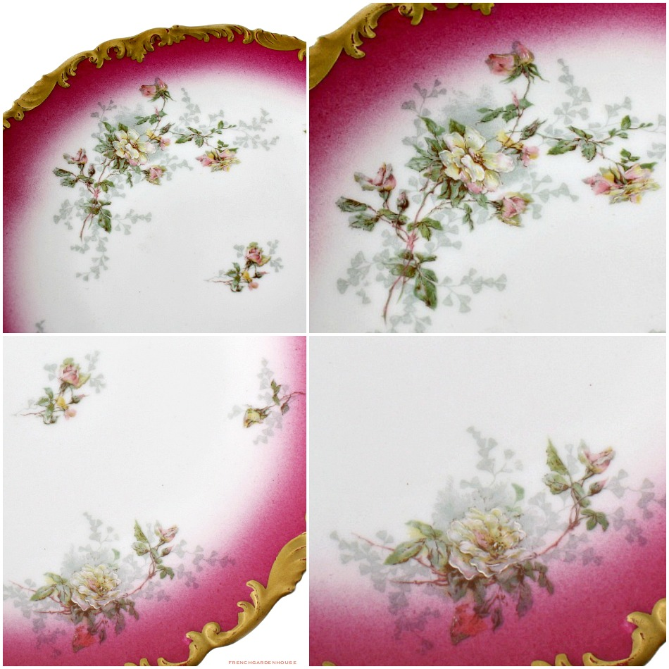 19th Century French Limoges PINK Rose Plate Gilt Cabinet Plate