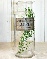 Antique French Glass Apothecary Jar Paper Label Lille Paris