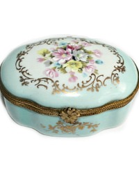French Limoges Miniature Floral Box Light Blue