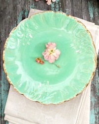 Antique French Limoges Green Plate Set of 5