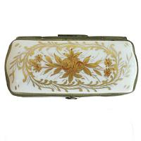 Hand Painted Gilt and Red Floral Limoges Stamp Box