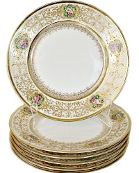 Antique Limoges Hand Painted Rose Gold Encrusted Plate Set of 6