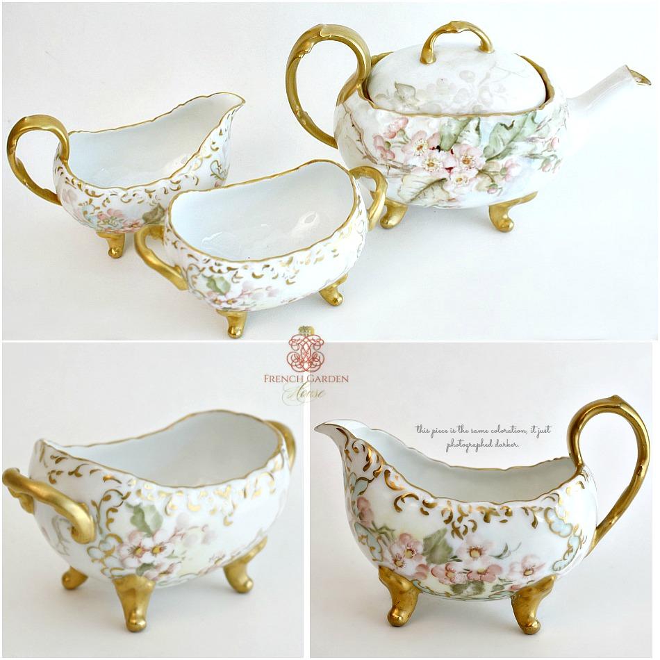 Antiques Limoges France Hand Painted Tea Set 1899 Signed