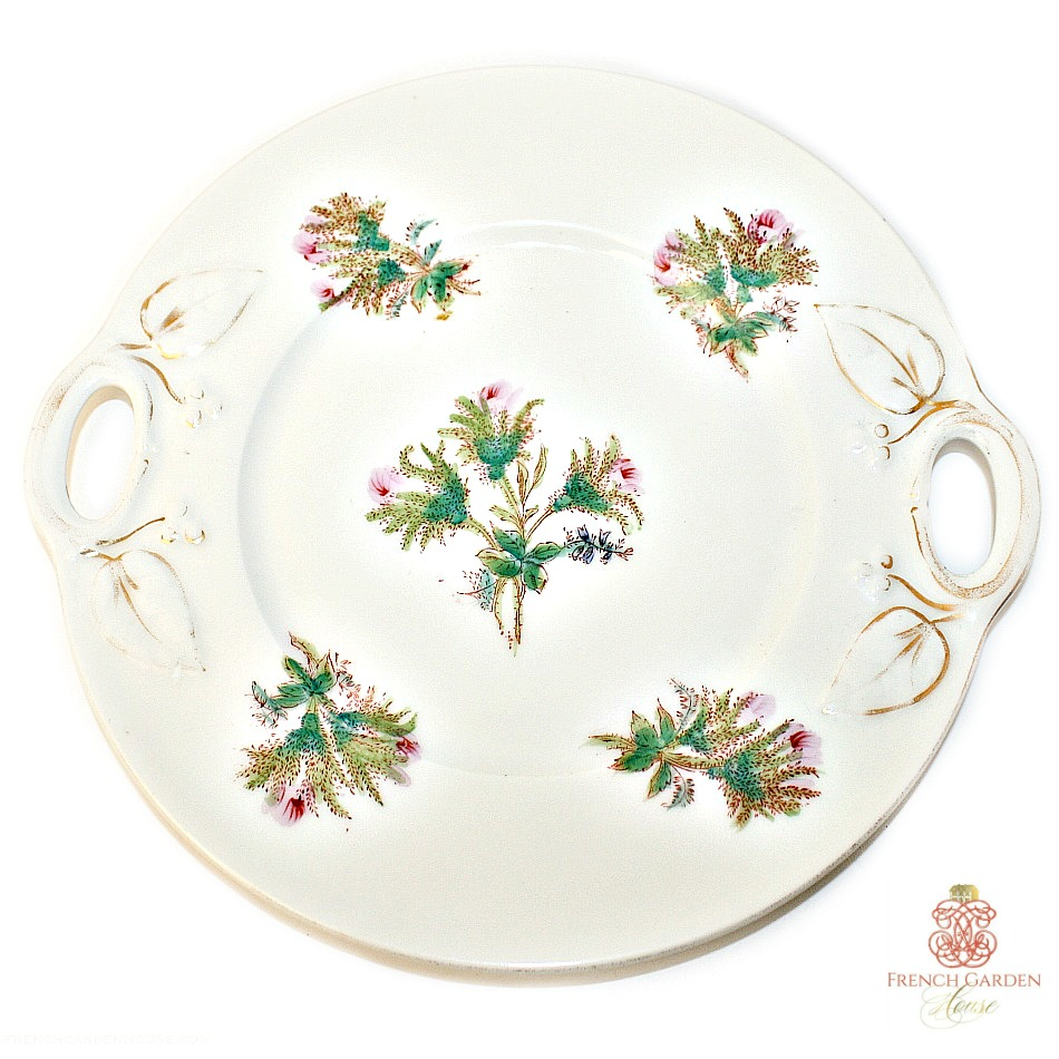 19th Century French Limoges Moss Rose Cake Plate
