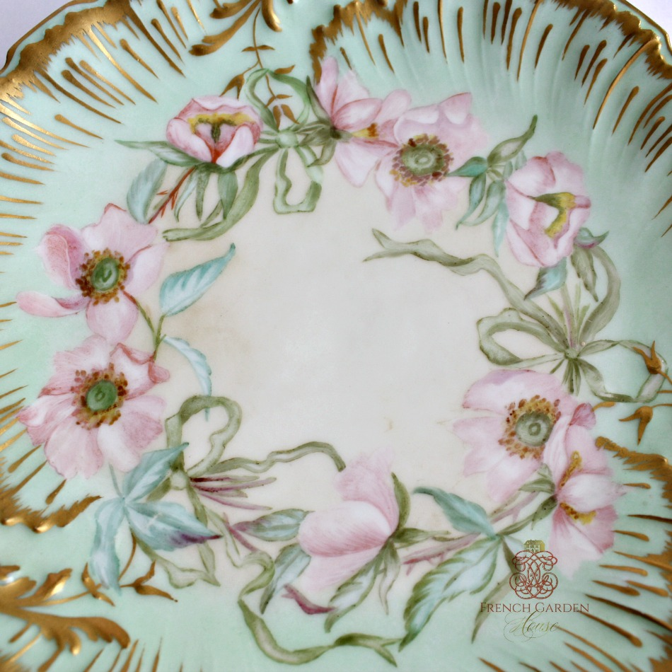 Antique French Hand Painted Pink Floral Limoges Cabinet Plate