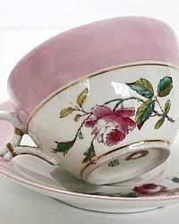 Antique 1880's French Haviland Moss Rose Limoges Pink Rose Teacup & Saucer