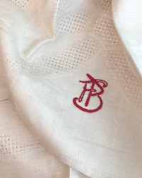 Antique Cream Linen Open Weave Damask Bows Towel Monogram FB