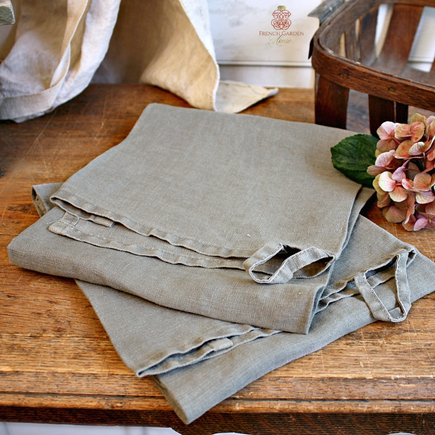 Belgian Linen Tea Towel Olive Harvest Green