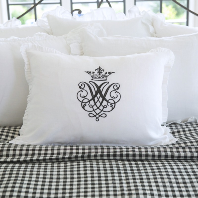 Luxury Linen Embroidered White Pillow Sham with Black Set of 2