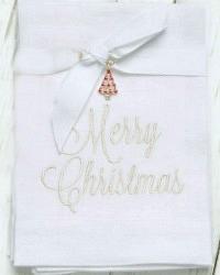 European Linen Merry Christmas Napkin Set of 2