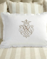 Luxury Linen Embroidered White Pillow Sham with Taupe Set of 2