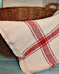 Antique 19th Century Hand Woven Linen Red Towel