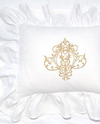 Belgian Linen White Ruffled Pillow Cover