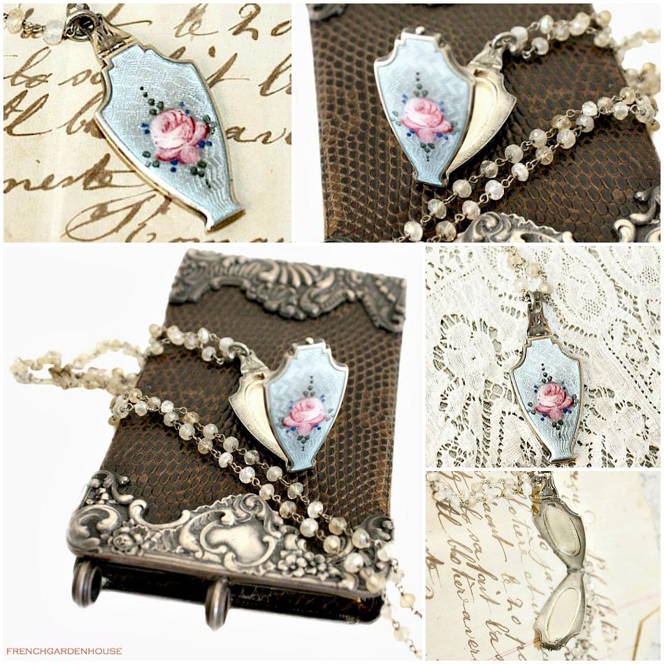 Georgia Hecht Antique Rose Guilloche Enamel Sterling Locket Necklace